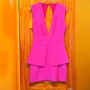 Finders Keepers Pink Cut Out Peplum Dress
